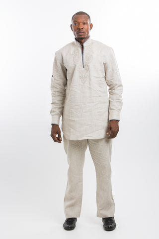 Designed Shoulder Kaftan Cream