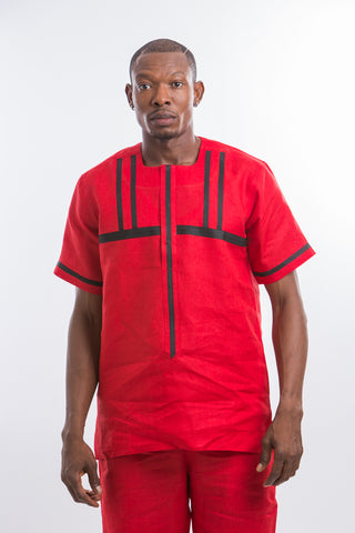 Red Delight Kaftan Shirt