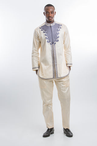 Front Design Long Sleeve Kaftan  Cream