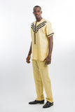 Modern Design Linen Kaftan Yellow