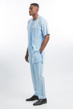 Plain Design Voil Kaftan Blue Short