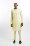 Plain Design Voil Kaftan Yellow
