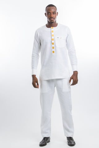 Button Design Kaftan White
