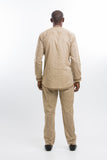 Front Design Long Sleeve Kaftan Light Brown