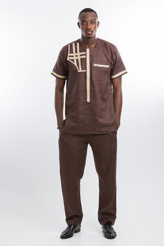Modern Design Linen Kaftan Dark Brown