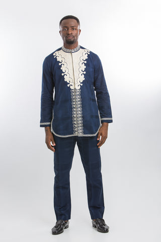 Front Design Long Sleeve Kaftan Navy