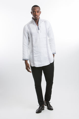 Designed neck & Stripped Kaftan Shirt-White