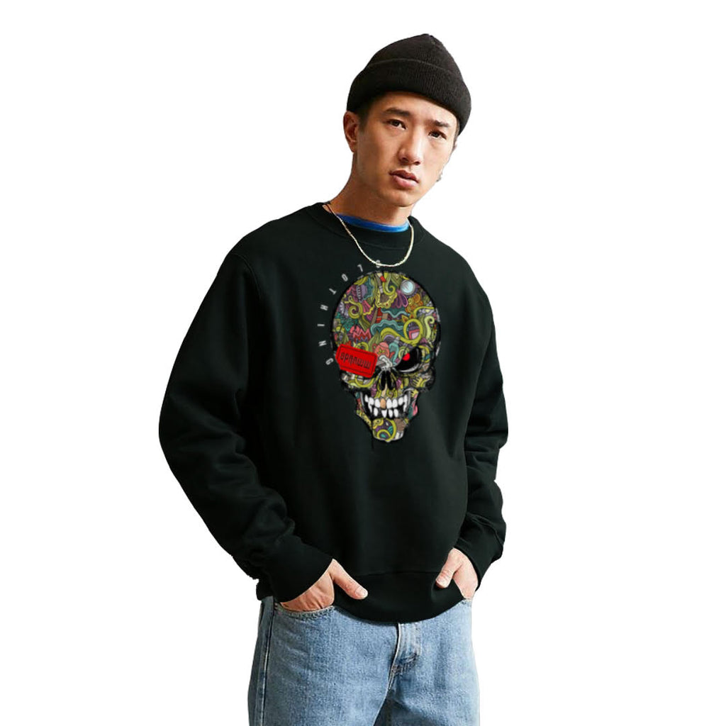 Solly Skull Black Sweatshirt W/ Metallic Glitter