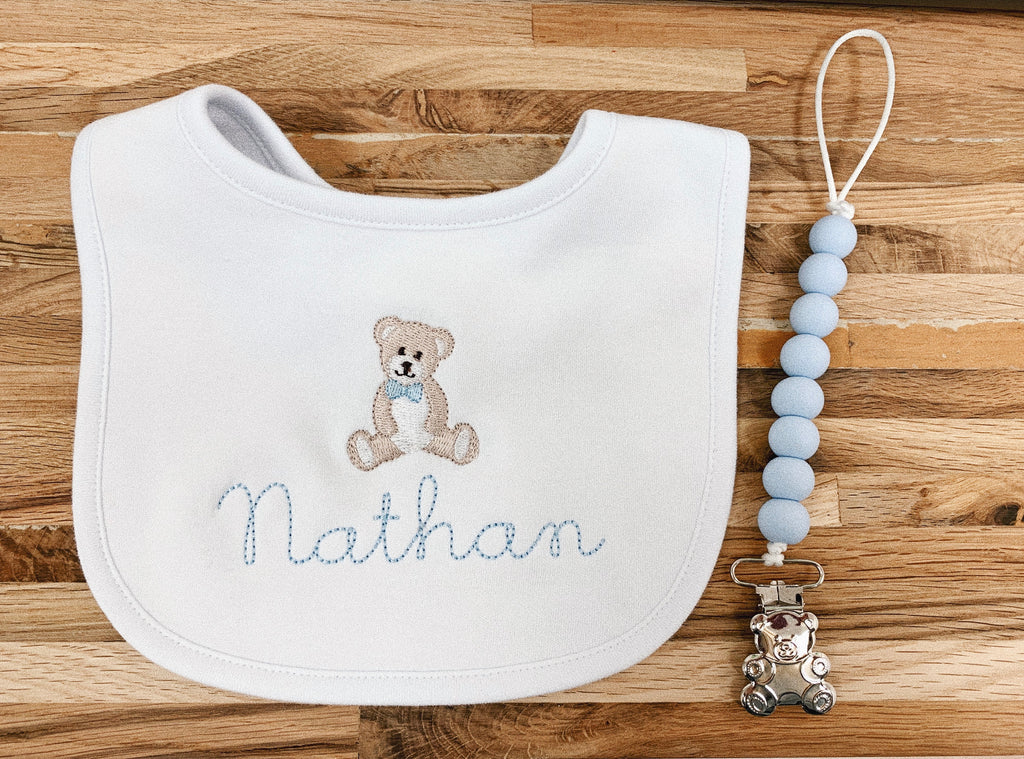 TEDDY BEAR BIB SET