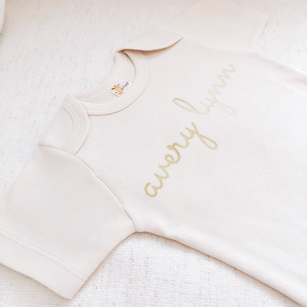 PERSONALIZED SCRIPT NAME ONESIE