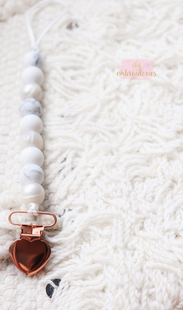 MARBLE & PEARL ROSE GOLD PACIFIER CLIP