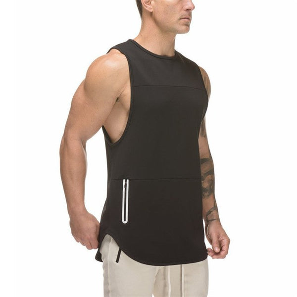 Sleeveless T-shirt with zip pocket