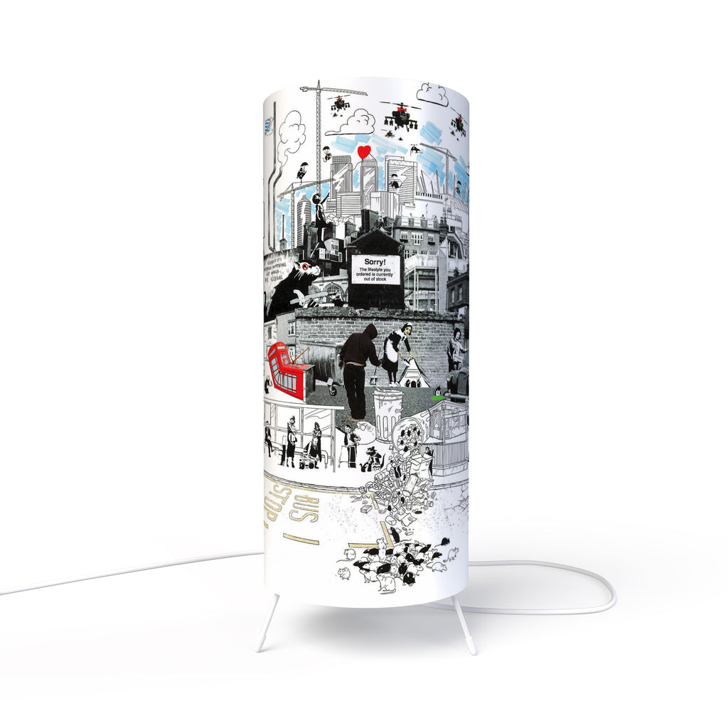 Modern Lamp designed by Fotbee with reproduction of work of art inspired by Banksy.
