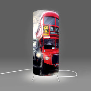 Image of London taxi and bus on table lamp designed by Fotbee