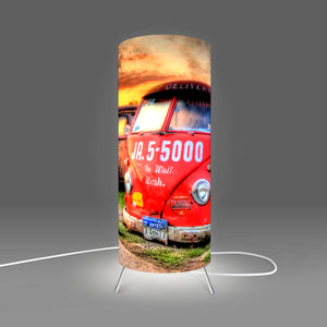 Fotbee table lamp with picture of old red Volkswagen by Steve Moss