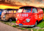 Picture of old red Volkswagens by Steve Moss