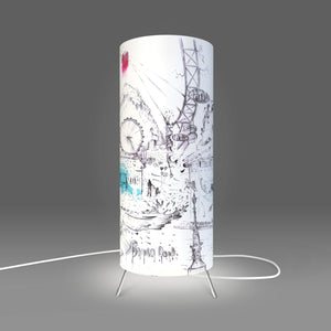 Fotbee table lamp with art by London based artist Lewis Campbell