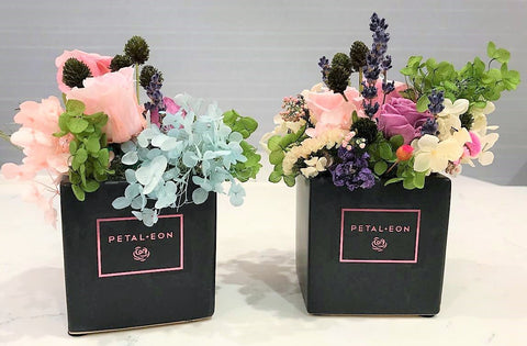 Two sample preserved flower DIY arrangements