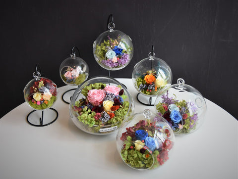 Sample Glass Orb flower arrangement from Petal+Eon