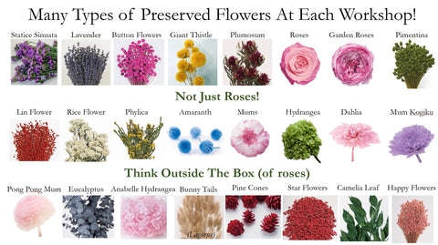 Many types of preserved flowers - not just roses