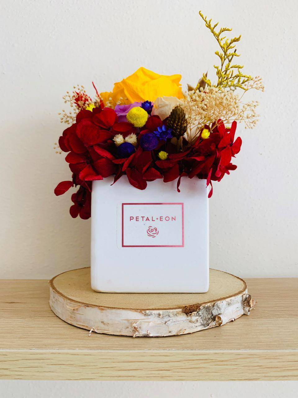 Standard-size floral kit - fall colors (yellow, red, purple) - white Katherine vase