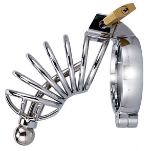 Corkscrew Male Chastity Cage with Urethral Sound - Room Privée™