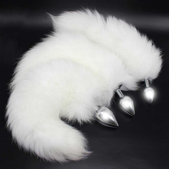 Deluxe Stainless Steel Faux Arctic Fox Tail Butt Plug - Room Privée™