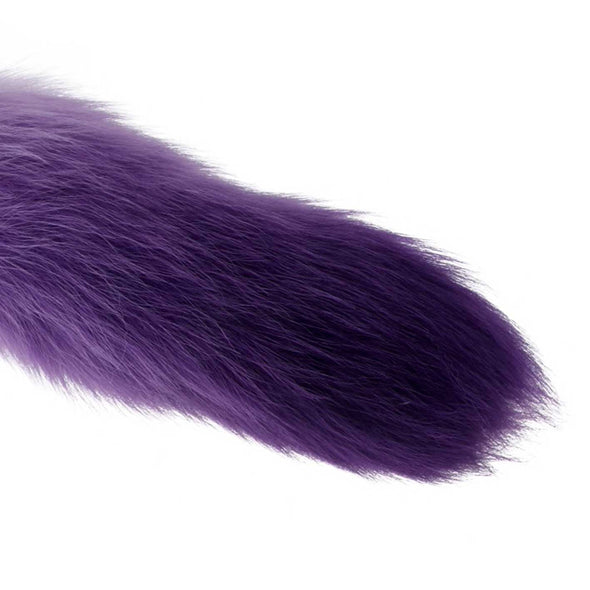 Deluxe Stainless Steel Faux Fur Midnight-Fox Tail Butt Plug Kit - Room Privée™