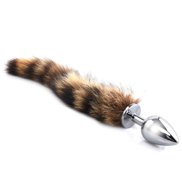 Deluxe Stainless Steel Faux Raccoon Tail Butt Plug Kit - Room Privée™
