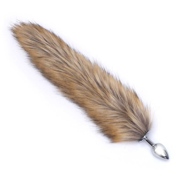 Deluxe Stainless Steel Medium Faux Fur Fox Tail Butt Plug - ROOM PRIVÉE - Room Privée™