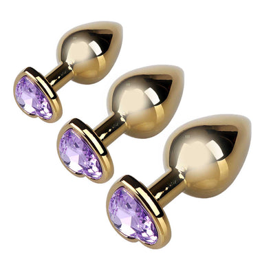 GOLDEN Metal Butt Plug with Heart Jewel 3 Size Kit - ROOM PRIVÉE - Room Privée™