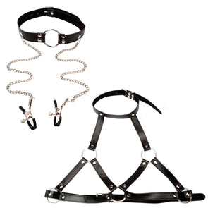 Master's Open-Breast Body Harness with Collar and O-Ring Gag with Nipple Clamps - Room Privée™