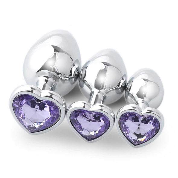 Metal Butt Plug with Heart Crystal 3 Size Kit - ROOM PRIVÉE - Room Privée™
