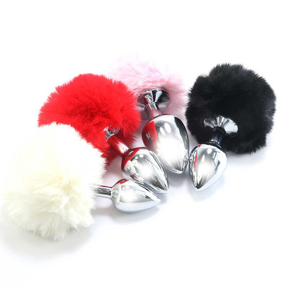 Multi-coloured Stainless-Steel Bunny Tail Butt Plug Kit - Room Privée™