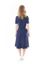 Load image into Gallery viewer, blue-dots-vintage-dress-back
