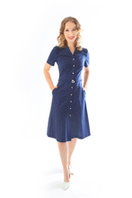Load image into Gallery viewer, blue-dots-vintage-dress