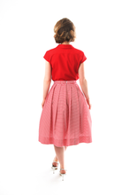 Load image into Gallery viewer, red-vintage-blouse-short-sleeves-back