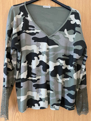 Camo Lace Trim Top