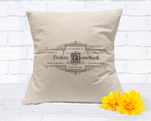 Load image into Gallery viewer, Natural Canvas Throw Pillow Cover - Vintage French Label Art