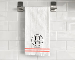 Tea Towel (Flour Sack) - Custom Monogram Family Design