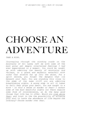 003- CHOOSE AN ADVENTURE