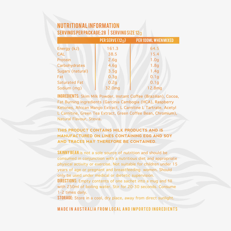 Mocha coffee nutritional panel