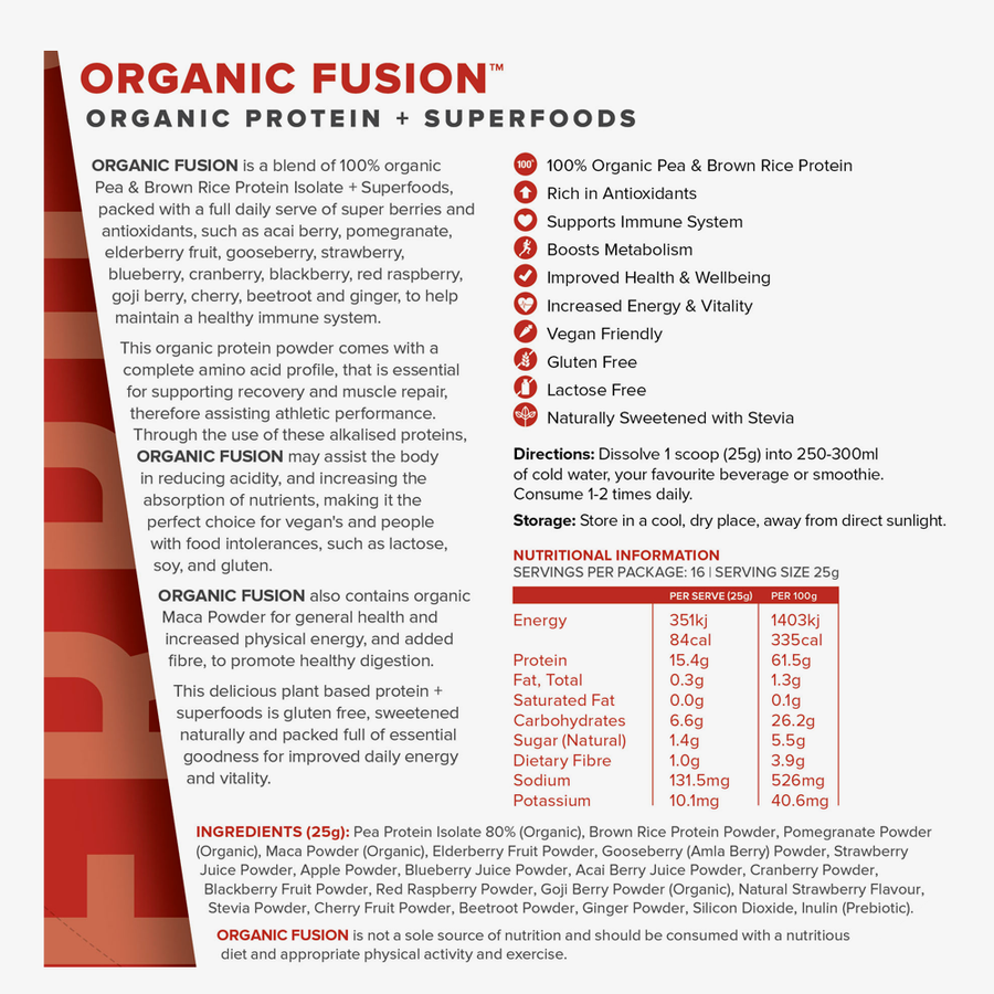 Organic Fusion Acai Berry organic protein powder nutritional panel
