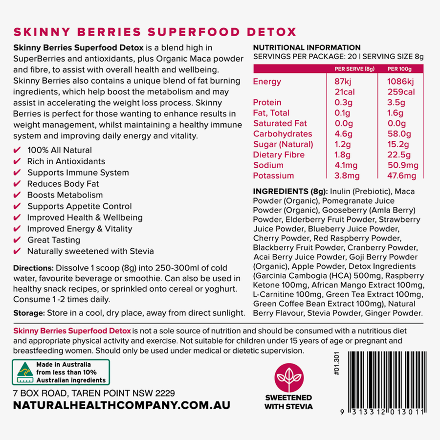 super food powder berries nutritional panel