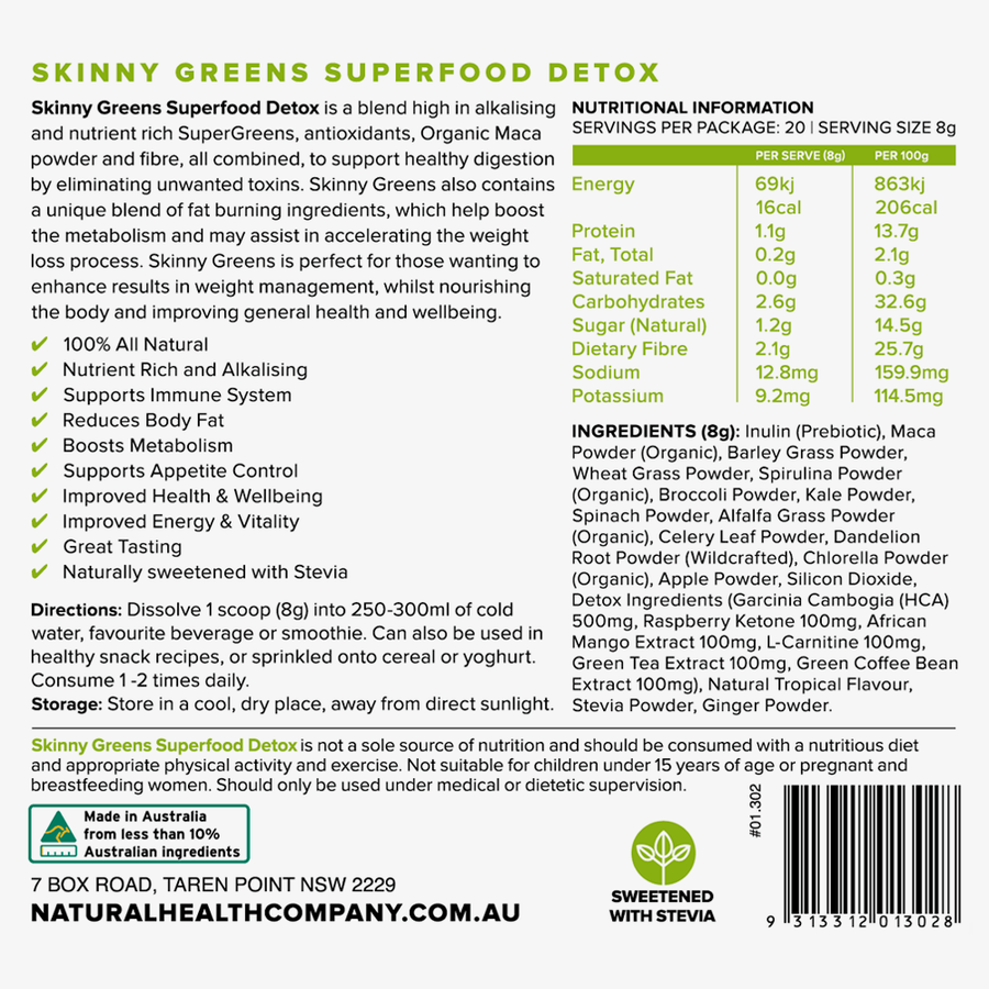 Super food powder greens nutritional panel