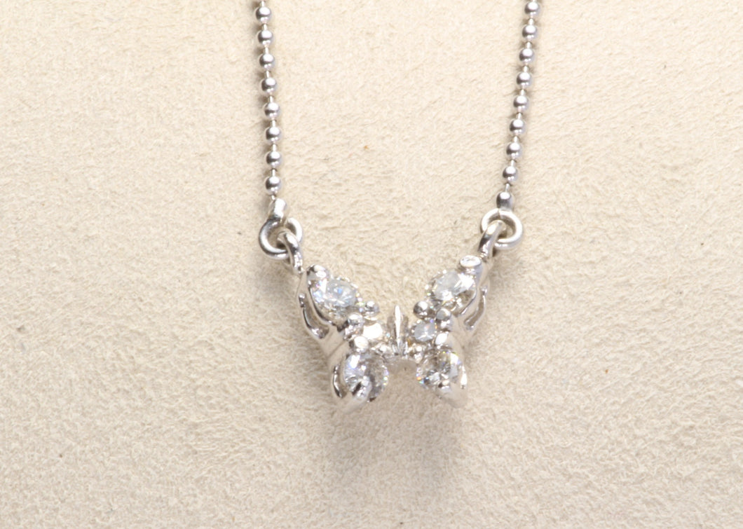 18K WHITE GOLD .25ctw DIAMOND BUTTERFLY 16