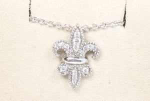 "14K WHITE GOLD .15ctw DIAMOND FLUER DE LIS 18"" NECKLACE"