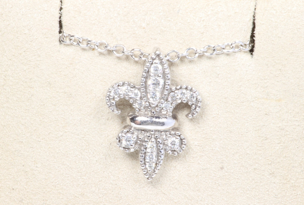 14K WHITE GOLD .15ctw DIAMOND FLUER DE LIS 18