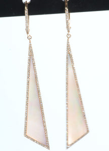 14k ROSE GOLD PINK MOTHER OF PEARL .50ctw DIAMOND LEVER BACK EARRINGS
