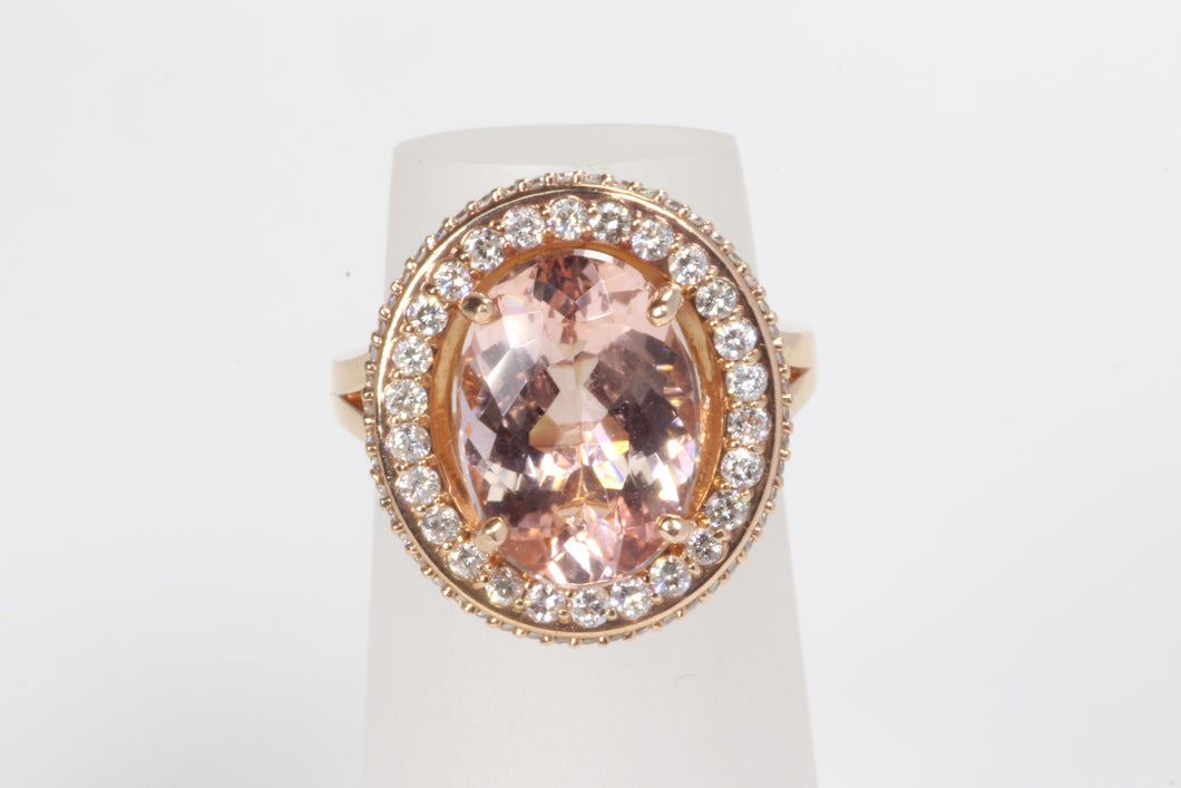 14K ROSE GOLD 5.22ct MORGANITE DIAMOND HALO RING SIZE 6.25